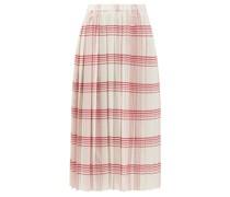 Madras Pleated Checked-canvas Midi Skirt