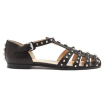Loubiclou Studded Caged Leather Sandals