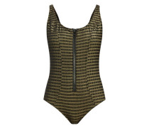 Jasmine Scoop-neck Lamé-cloqué Swimsuit