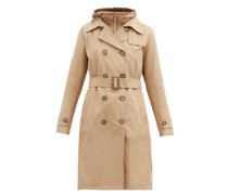 Hooded Belted Cotton-gabardine Trench Coat