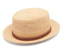Leather-trim Straw Boater Hat