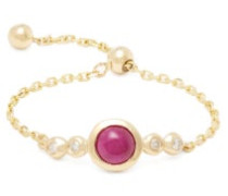 July Diamond, Ruby & Gold Chain Ring