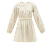 Rosette Shirred-waist Cotton Mini Dress