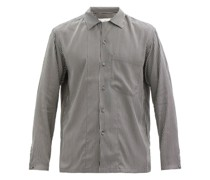 Cuban-collar Striped Silk Shirt