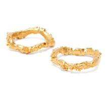 The Unreal City Set Of Two 24kt Gold-plated Rings