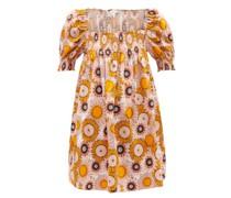 Jane Shirred Sunflower-print Cotton Mini Dress