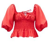 Jodie Puff-sleeve Shirred Cotton-poplin Top