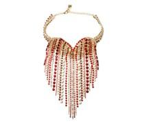 Heart Crystal-embellished Fringe Necklace