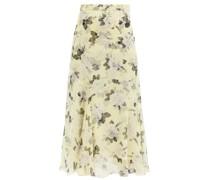 Shea Rose-print Silk-chiffon Midi Skirt