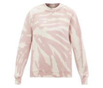 High-neck Tie-dye Brushed-back Cotton Sweatshirt