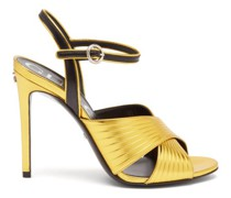 Betsy Crossover Metallic-leather Sandals