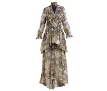 Lurex Abstract-print Layered Silk-blend Gown