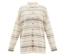 Point-collar Striped Alpaca-blend Shirt