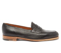 Lopez Grained-leather Penny Loafers