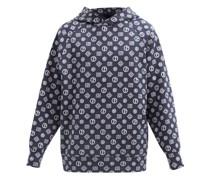 Logo-jacquard Cotton-blend Hooded Sweatshirt