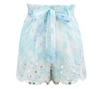 Sequinned Paperbag-waist Tie-dye Cotton Shorts