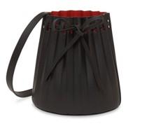 Pleated Mini Leather Bucket Bag