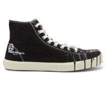 Tabi High-top Paint-drop Canvas Trainers