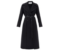 Double-breasted Layered Belted Wool Coat