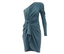 One-shoulder Draped Silk-blend Crepe Dress