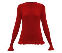 Ruffle-trim Rib-knit Merino Wool Sweater