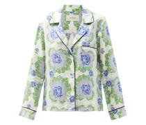 Floral-print Silk-satin Twill Top