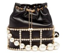 Holli Faux-pearl, Crystal & Leather Cage Handbag