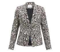 Iris Single-breasted Leopard-jacquard Jacket