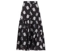 Gaura Floral Fil-coupé Twill Midi Skirt