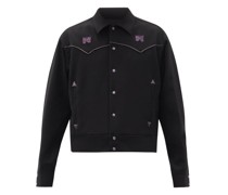 Butterfly-embroidered Satin-trimmed Jacket