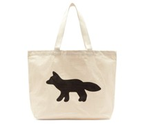 Fox-print Cotton-canvas Tote Bag