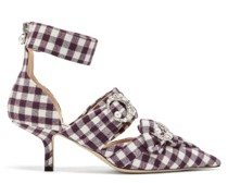 Crystal-embellished Checked Pumps