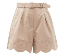 Broderie Anglaise Scalloped Cotton Shorts