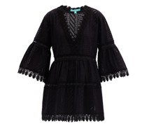 Victoria Bell-sleeve Embroidered-cotton Mini Dress