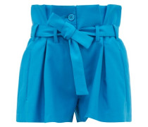 Paperbag-waist Pleated Cotton-blend Shorts