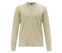 Mother-of-pearl Button Cotton Henley T-shirt