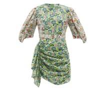 Pia Floral-print Ruched Cotton-poplin Mini Dress