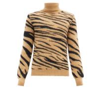 Roll-neck Tiger-jacquard Mohair-blend Sweater