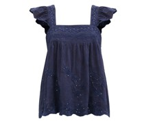Ruffle-sleeve Floral-embroidered Cotton Top