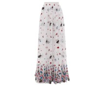 Lydell Floral-embroidered Organza Maxi Skirt