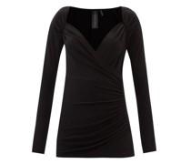 Sweetheart-neckline Draped Jersey Top