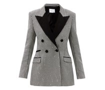 Double-breasted Wool-blend Houndstooth Jacket