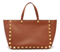 Roman Stud Grained-leather Tote Bag