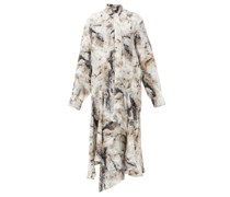 Andrea Pussy-bow Fox Fur-print Silk Dress