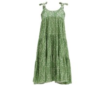 Tie-shoulder Tiered Floral-print Cotton Dress