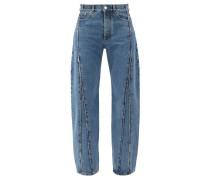 Raw-edge Panelled Straight-leg Jeans