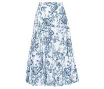 Gaura Toile De Jouy-print Poplin Pleated Skirt