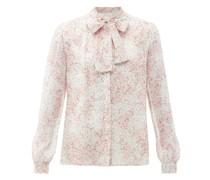 Floral-print Pussy-bow Silk-chiffon Blouse