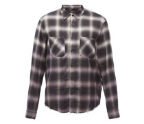 Gradient-check Brushed Cotton-blend Twill Shirt