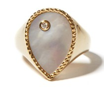 Diamond, Mother-of-pearl & 9kt Gold Signet Ring